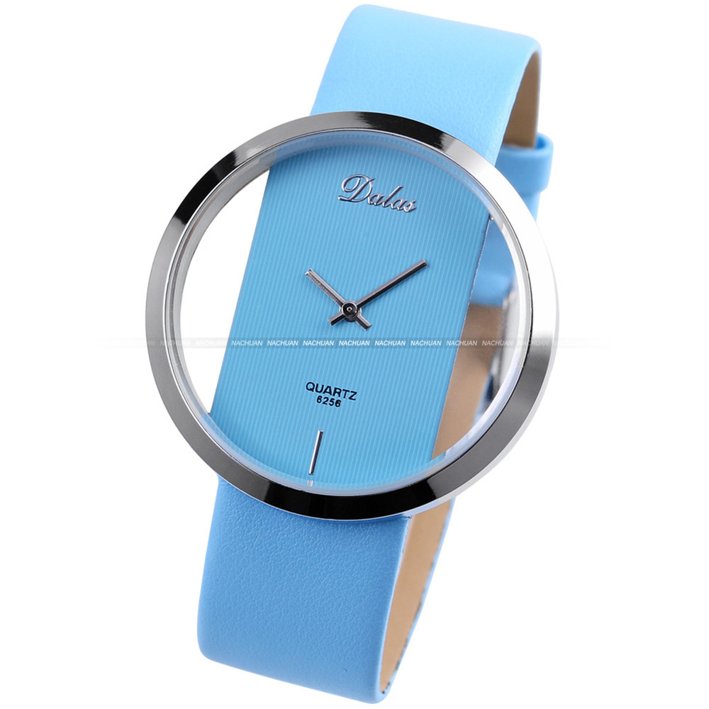 Blue Leather Strap Transparent Quartz Stylish Girls Watch Luscious ...