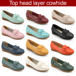 china wholesale Women's Casual Loafers Genuine Leather Driving Moccasins Slip-On Flat Shoes