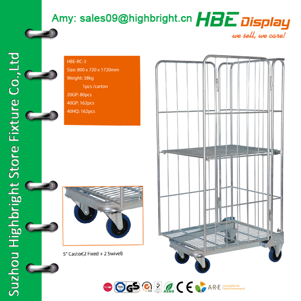 3 side laundry trolley roll container