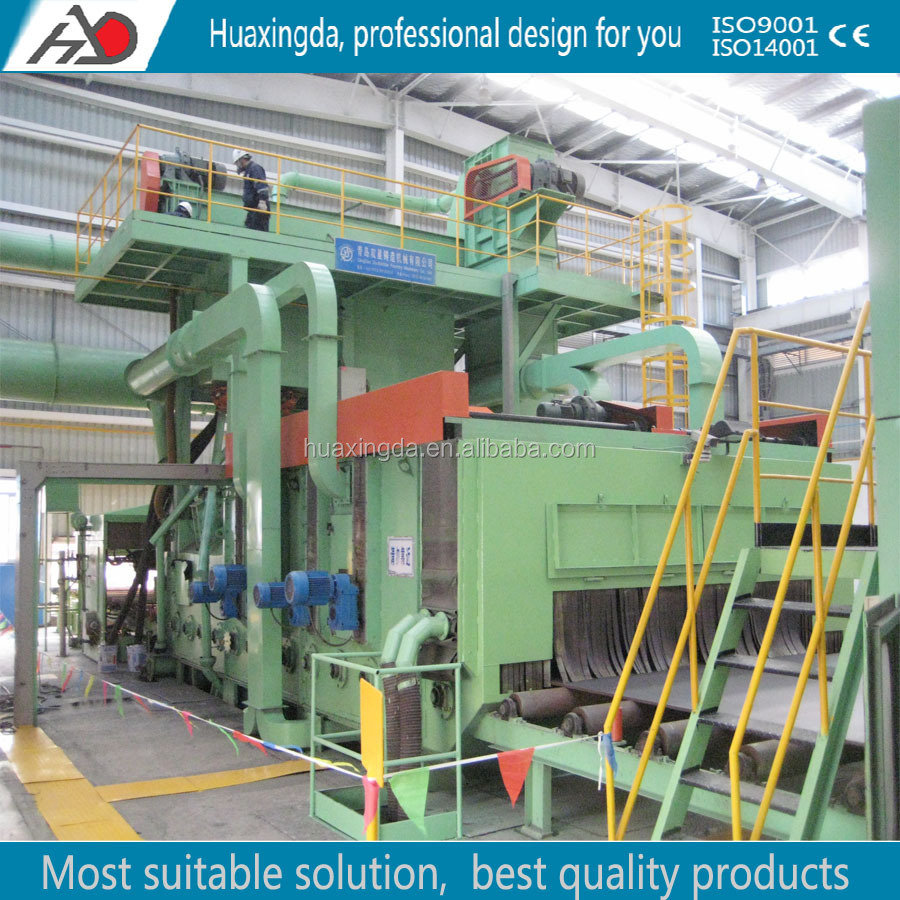 steel plate section shot blast clean-up machine/steel plate shot blast cleaning line