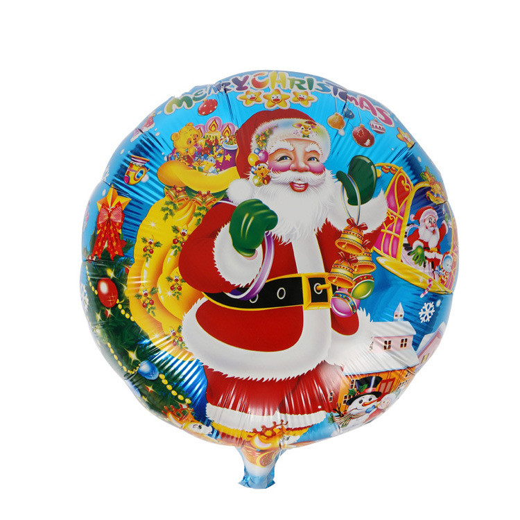 Christmas Decoration Aluminum Balloon 18 inches Christmas Tree Yeti Floating Round Ball Aluminum Balloon Party Supplies