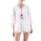 Ladies Fashion Tunic White Floral Crochet Blouse With Scrolled Cuffs