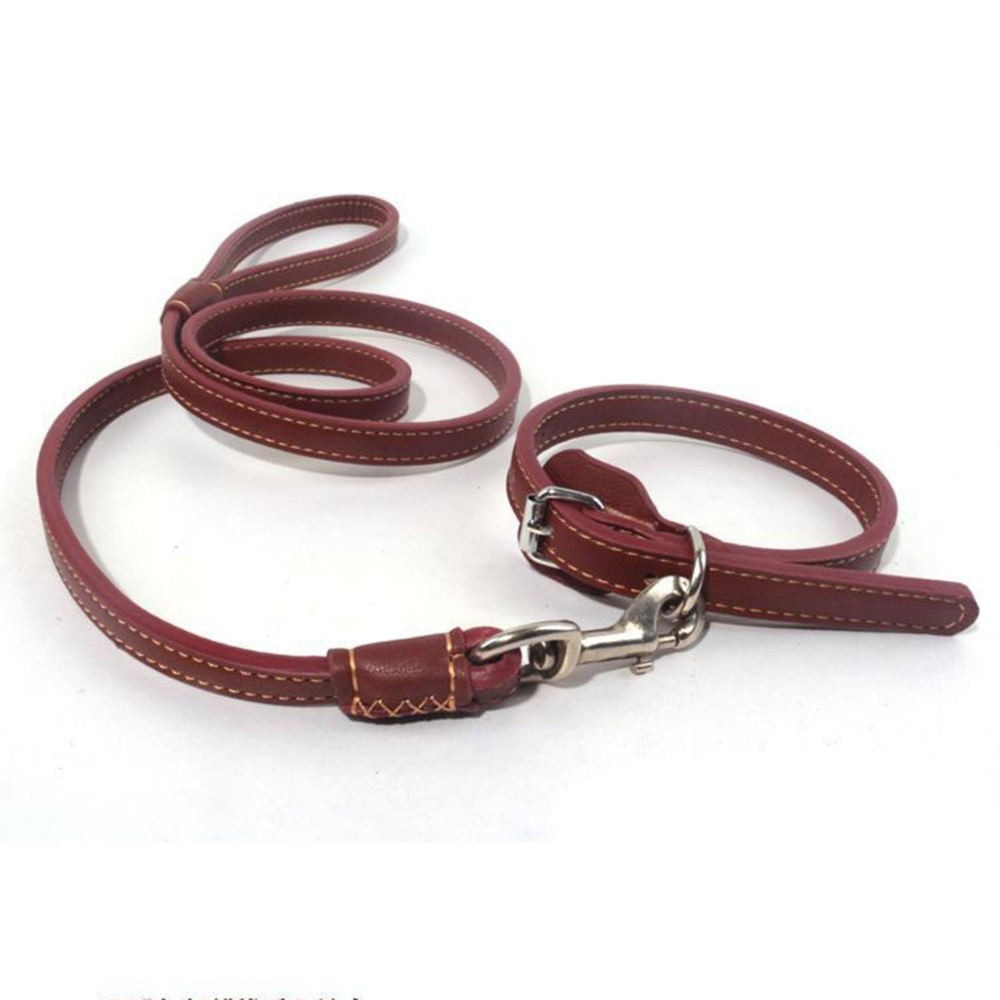 Top Quality Real Leather Pet Collar and Leash Both Sides Genuine Full Grain Leather Leash for Dogs