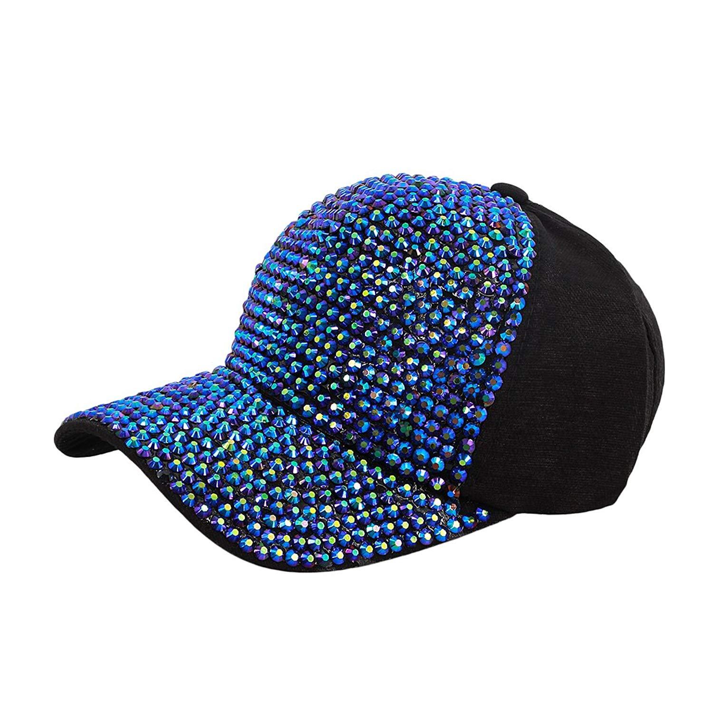 Get Quotations · Surkat Unisex Studded Rhinestone Adjustable Baseball Cap  Snapback Hip Pop Dance Cap df92e29270c4
