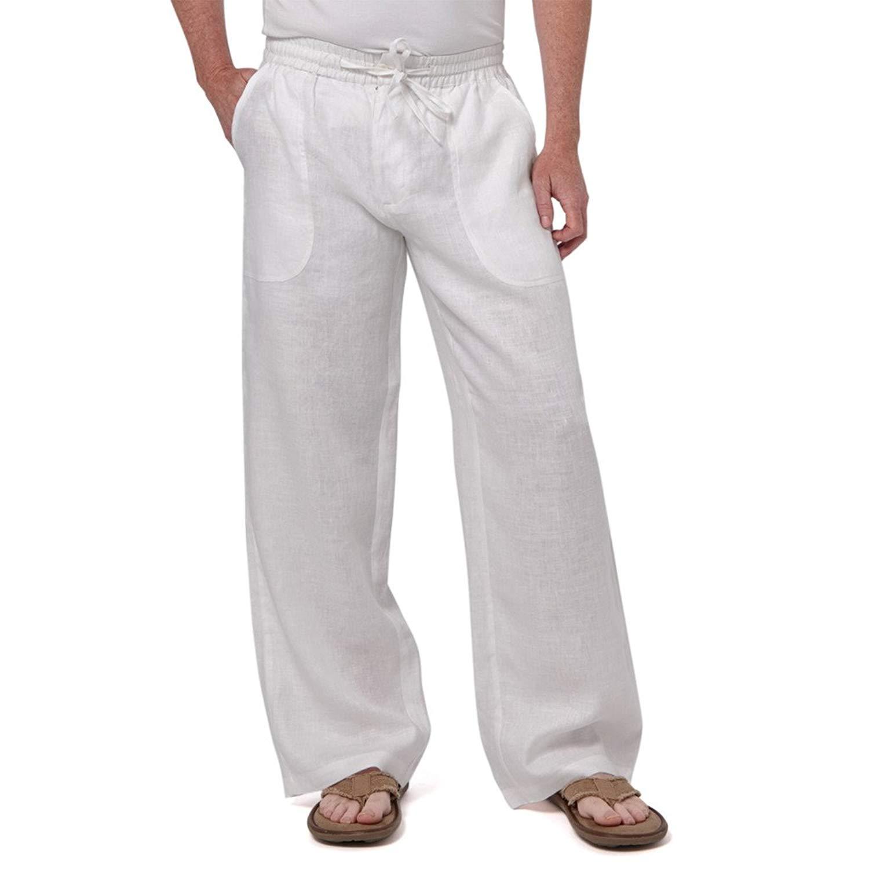 648112c91a3 Get Quotations · Liash Stylish Linen Beach Pant for Men - Linen Drawstring Linen  Pants Men Big &Tall -
