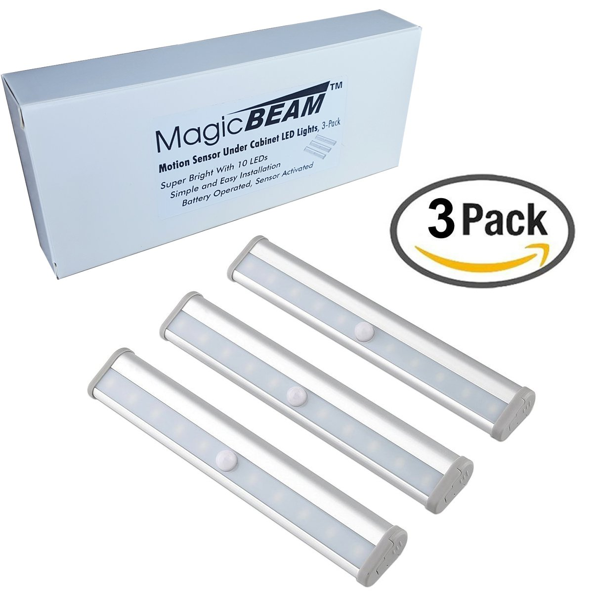 Magic BEAM Under Cabinet LED Light with Sensor, Daylight White Wireless Motion Sensor LED Light Bar, Stick On Anywhere, 10 LED Under Cabinet Lighting - 3 Pack