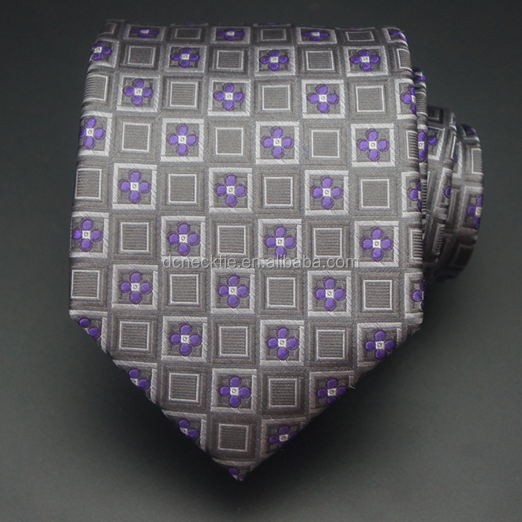 purple flower pure silk fabric tie