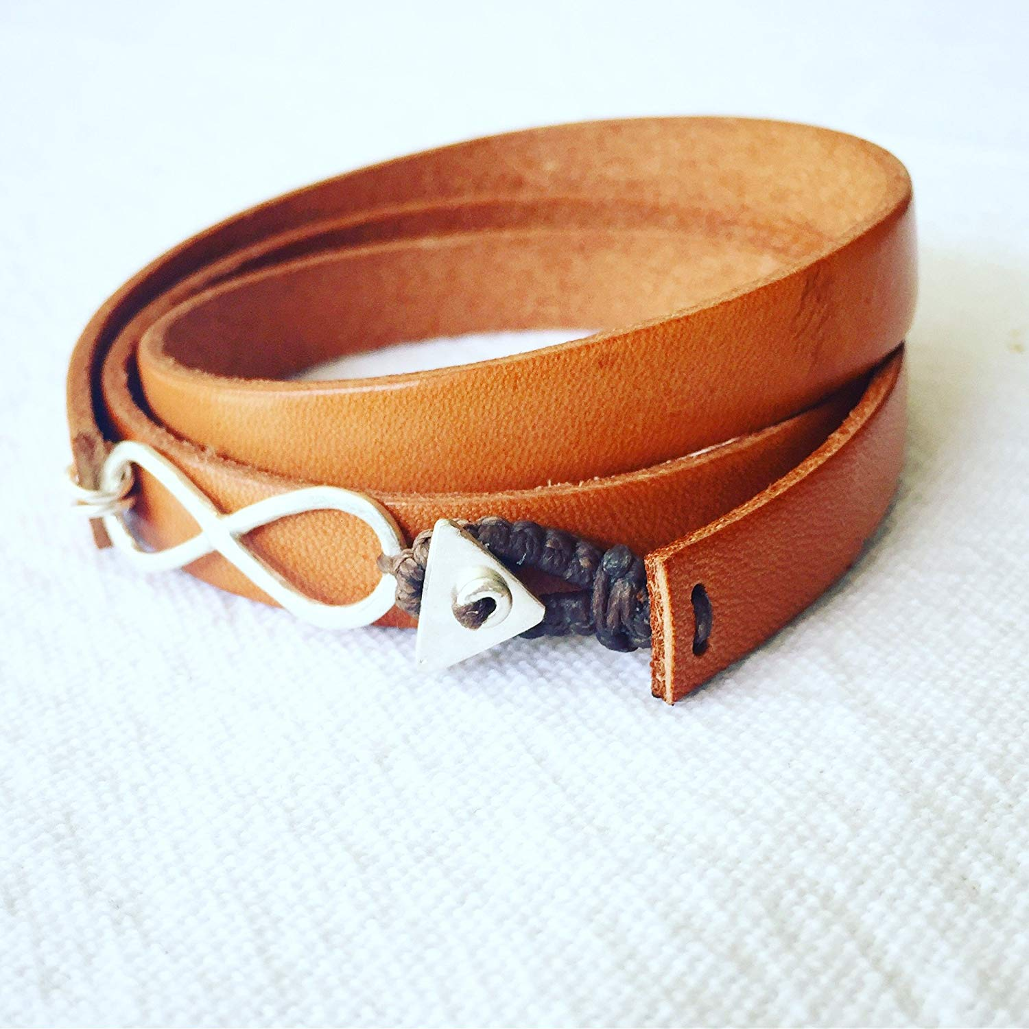Men's Brown Leather and Sterling Silver Wrapped Infinity Charm Bracelet, Handmade Designer Artisan Jewelry