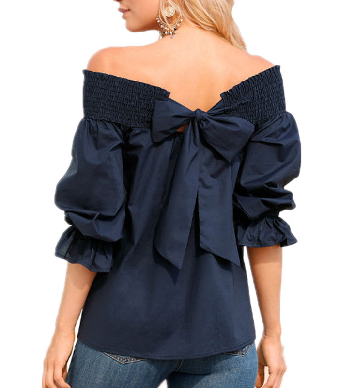 Pleat Neckline Bow <strong>Cotton</strong> Fashion <strong>Blouse</strong> <strong>Ladies</strong>