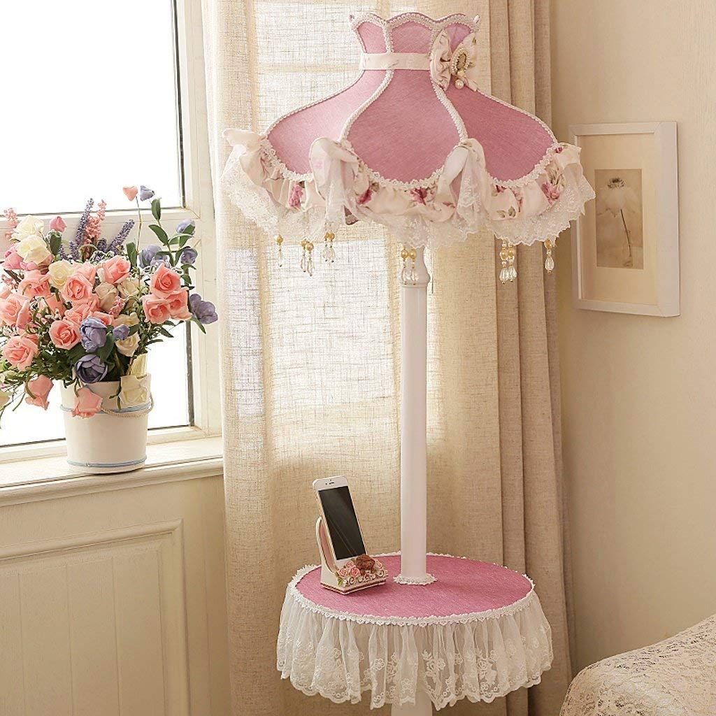 SED Floor Lamp-Led Floor Lamp Living Room Bedroom Bedside Lamp Creative Vertical Floor Lamp Pastoral Lace Table Lamp Shelf Foot Switch Floor Lamp Eye Protection Vertical Table Lamp