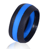Custom Customized Engraved Logo Fashion Design Men Women Engagement Striped Middle Line Silicone Rubber Band Finger Wedding Ring