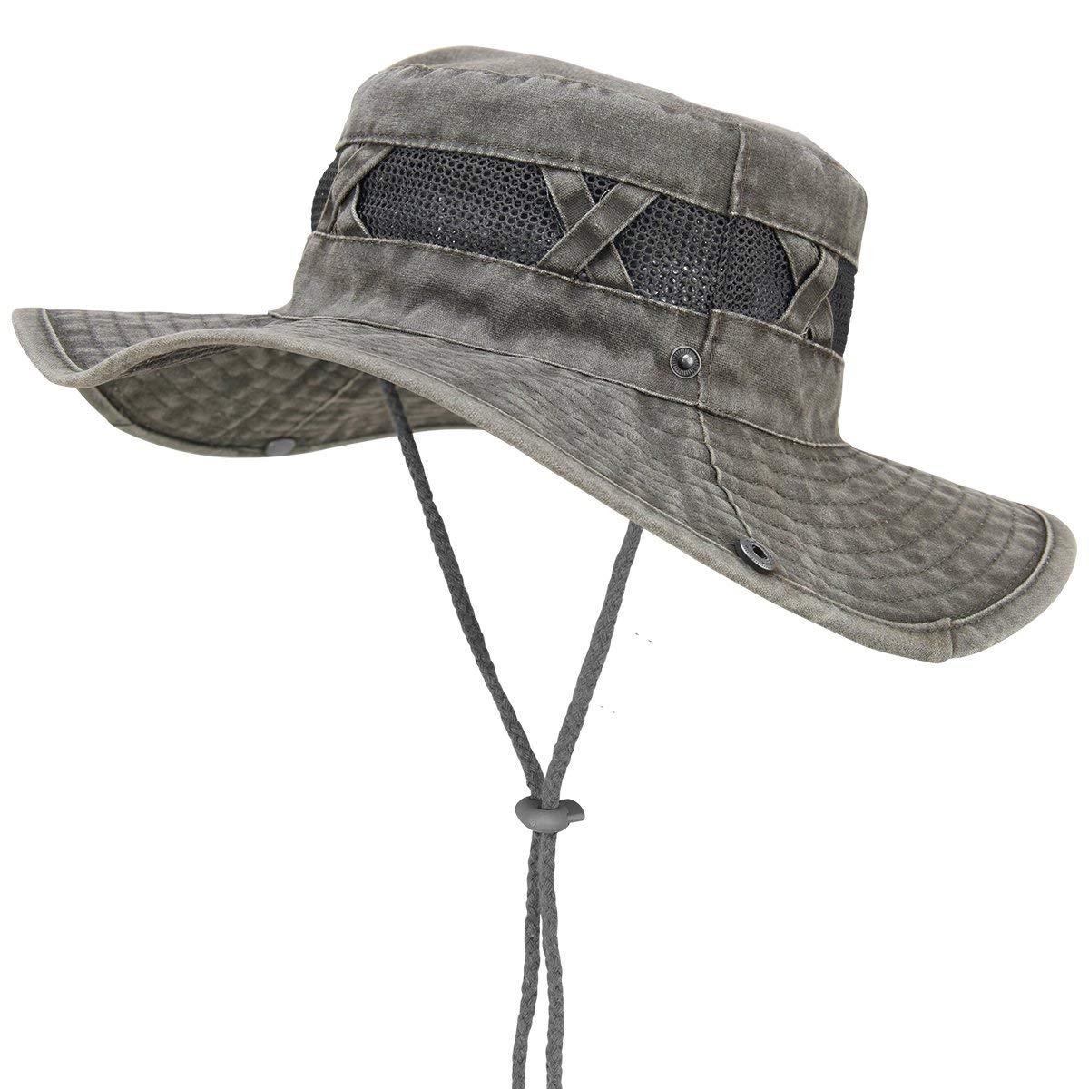 b1b768733704f Get Quotations · Bodvera Outdoor Sun Protection Wide Brim Boonie Hat Bucket  Safari Hunting Fishing Summer Cap