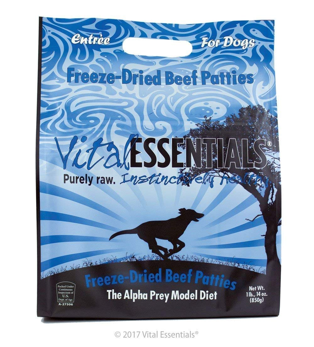 Vital Essentials Freeze-Dried Beef Patties Grain Free Limited Ingredient Raw Dog Food 1 Pound 14 Ounce Bag, Fast Delivery by Just Jak's Pet Market