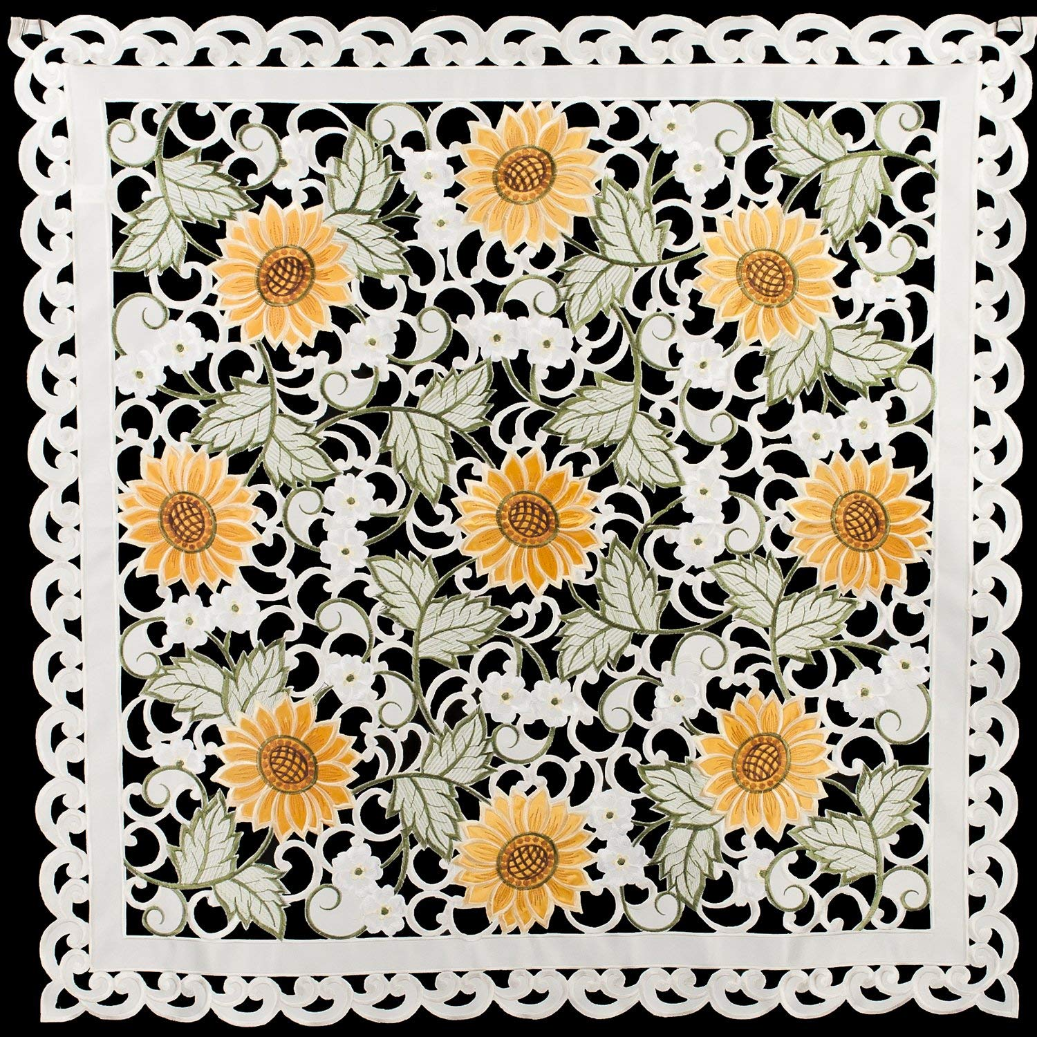 "Linens, Art and Things Embroidered Table Topper Doily Table Centerpiece Small Tablecloth Open Weave Cut Work Sunflower and White Daisy on Ivory Approx 33"" x 33"""