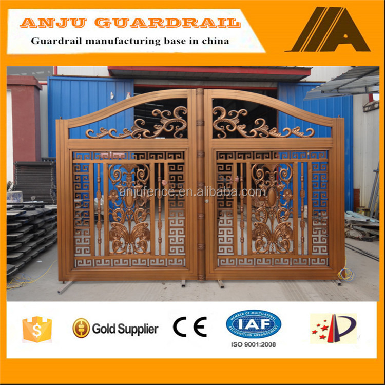 AJLY-617 Popular and Beautiful Wrought Iron Latest Main Gate Designs