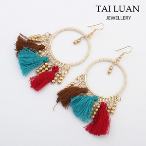 Bohemian style ethnic jewelry bijuteria china silk thread tassel earrings