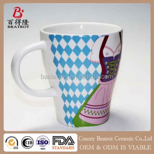 double sided design ceramic custom coffee mug