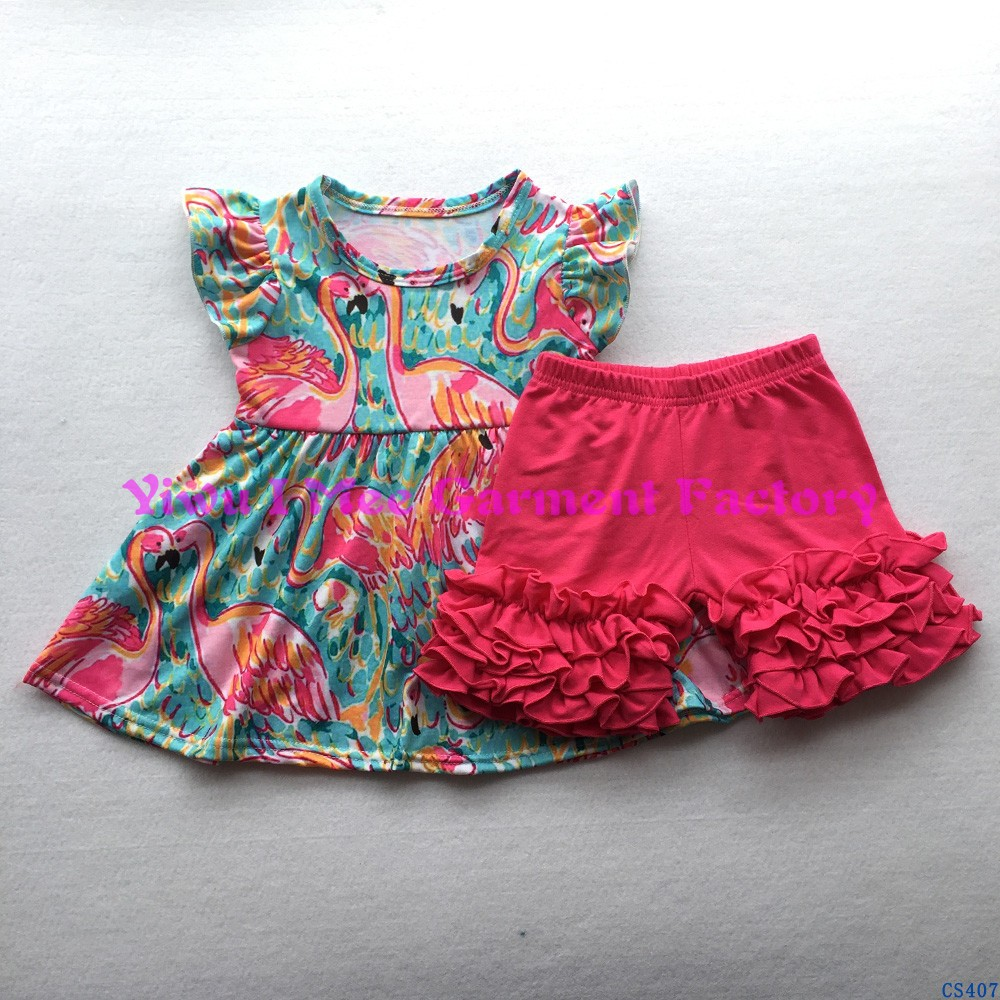 2016 Wholesale Girls Giggle Moon Remake Clothing Boutique Kids Flamingo Pearl Dress with Hot Pink icing Shorts Outfit Sets CS407