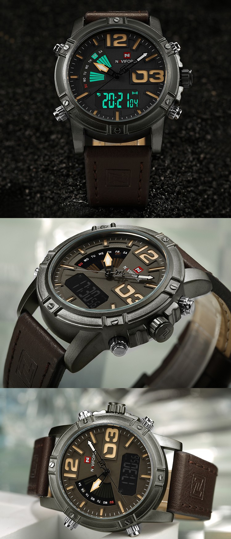 Brand fashion dual time clocks time business alarm date week for man leather strap digital analog sport luxury naviforce watch