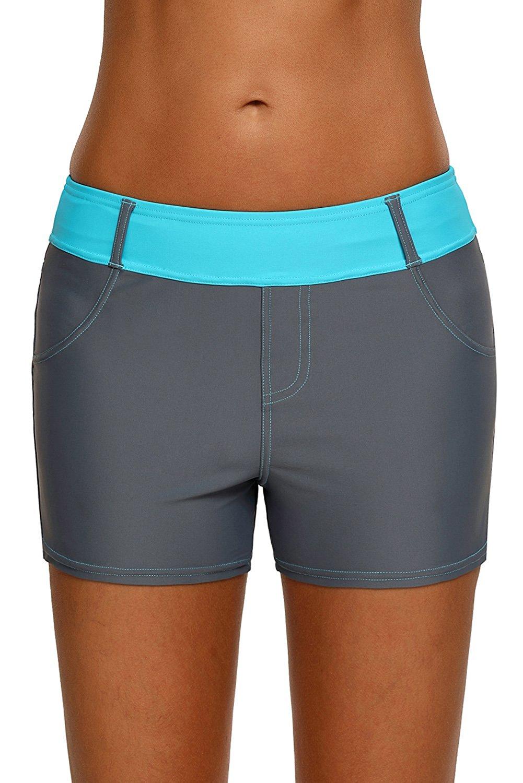 fd1ecb36cd Get Quotations · Arainlo Women's Swim Shorts Sports Swim Bottom Tankini  Bikini Color Block Wide Waistband Bottoms Modest