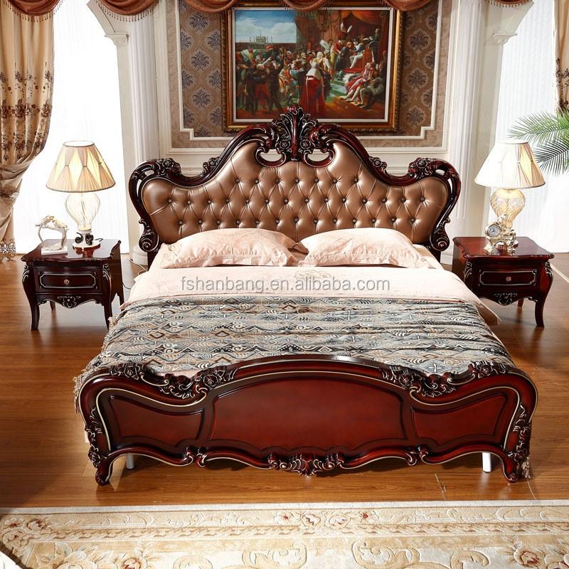 Lujo real de madera marrón oscuro cuero MDF cabecero cama king ...