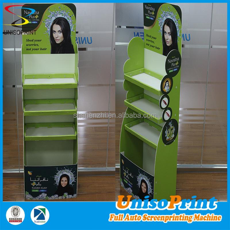 Cheap OEM corrugate plastic floor display pop up plastic display stands for makeup