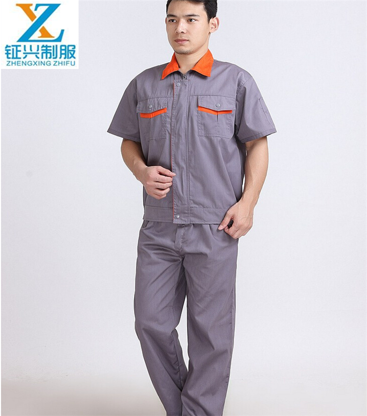 100% cotton T will fabric anti-wrinkle, anti-acid <strong>orange</strong>/grey coveralls work uniform design suits for industries