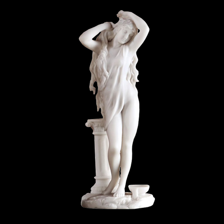 Beautiful famous sculpture white marble nude bathing woman statue