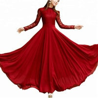 Elegant Ladies Chiffon Long Evening Party Wear Gown Long Sleeve Muslim Dress