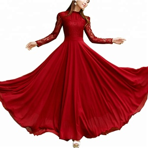 Elegant Ladies Chiffon Long Evening Party Wear Gown Long Sleeve Muslim Evening Dress