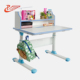 Height adjusted student standing studying and drawing wood desk with chair and crank