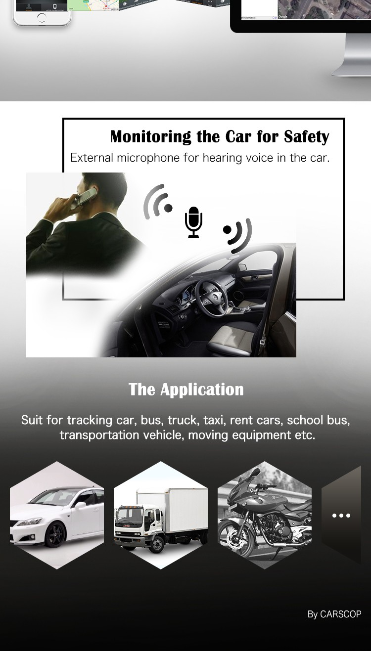 3G WCDMA Vehicle Truck Car GPS Tracker with Remote Turn Off Engine & External Listen Microphone