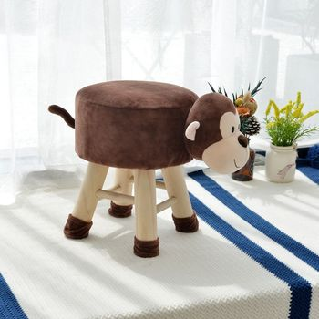 Lovely Monkey Cute Animal Dressing Table Stool Bedroom Wooden Leg Fabric Bench Padded Seat Chair Round