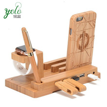 Bamboo Station Charger Stand Holder Wooden Charging Dock For Apple Watch
