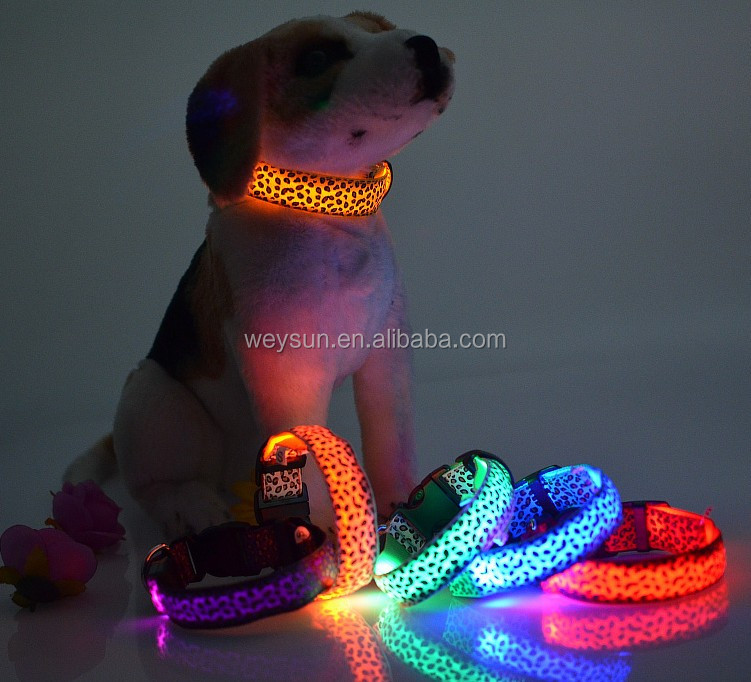 LED Collar Leopard Puppy Necklace Luminous Pet Decors dog harness