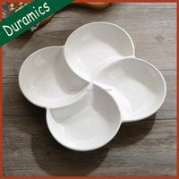 Multi-size 4 compartment ceramic plate, windmill shaped chip and dip tray