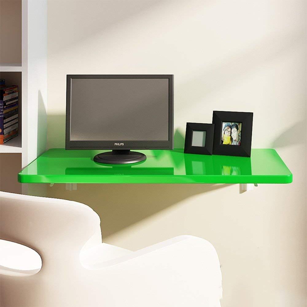 Tables ZR-Wall Wall-mounted Drop-leaf, Folding Kitchen & Dining Desk, Children, Home Office Desk Workstation Computer Desk with Storage Shelves, Trestle Desk Green -save space