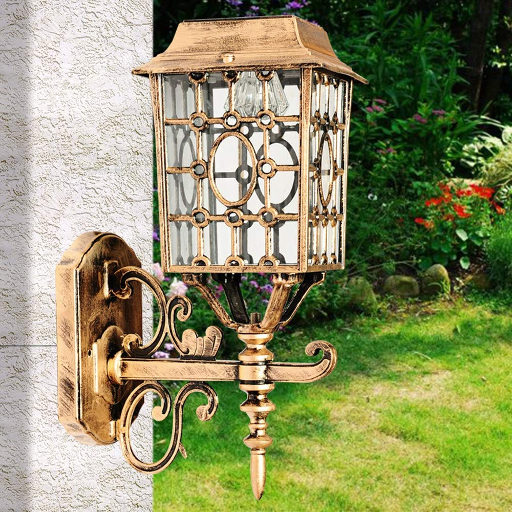 Hines European Bronze Victoria Solar LED Wall Light Retro Bronze Outdoor Waterproof Wall Lamp Patio LED Balcony Garden Villa E27 Decoration Door Hanging Light