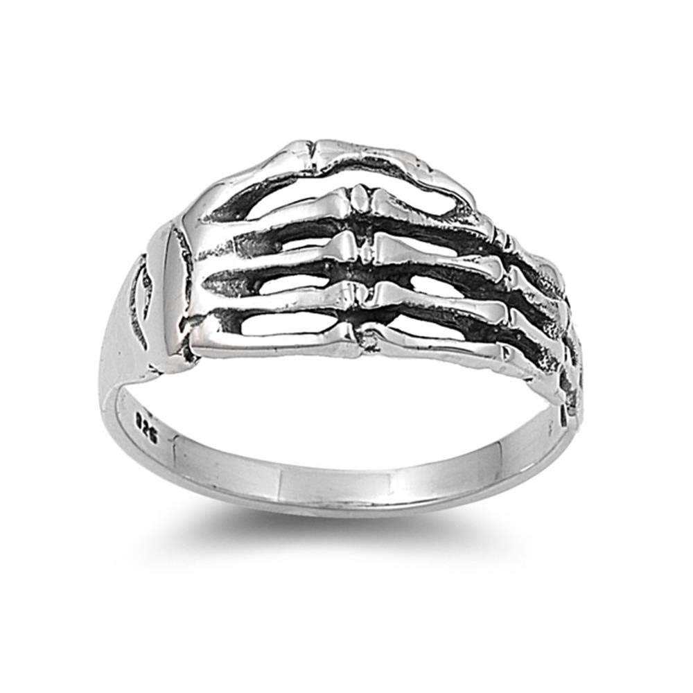 Aokarry Mens Sterling Silver 925 Rings Skull Hand Bone Skeleton Black Silver 19MM