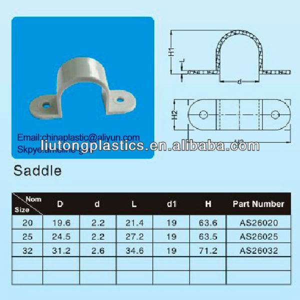 Saddle clips tuberia pvc