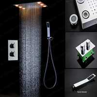 wholesale square concealed mounted thermostatic shower mixer rainfall shower head set with 6pcs big led light