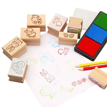 Diy Cute Cartoon Cat Craft Decoration Gift Stamp Wooden Rubber Toy Stamp Set