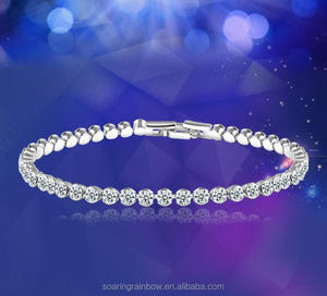 European Round Cut Crystal Bracelet Romantic Bride Bangle Tennis Bracelet Gold and Silver