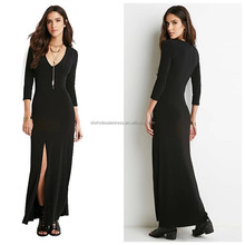 Women long sleeve V neck black slim fit high split long maxi dress casual dress