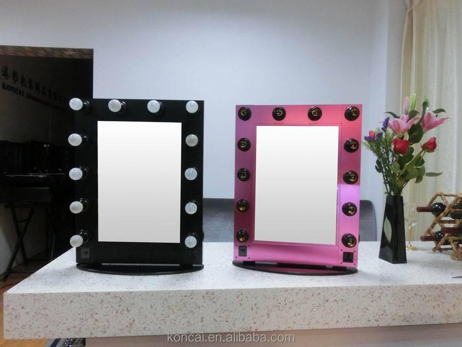 hollywood stil schminkspiegel mit led leuchten beleuchtete make up spiegel mit st nder mit. Black Bedroom Furniture Sets. Home Design Ideas