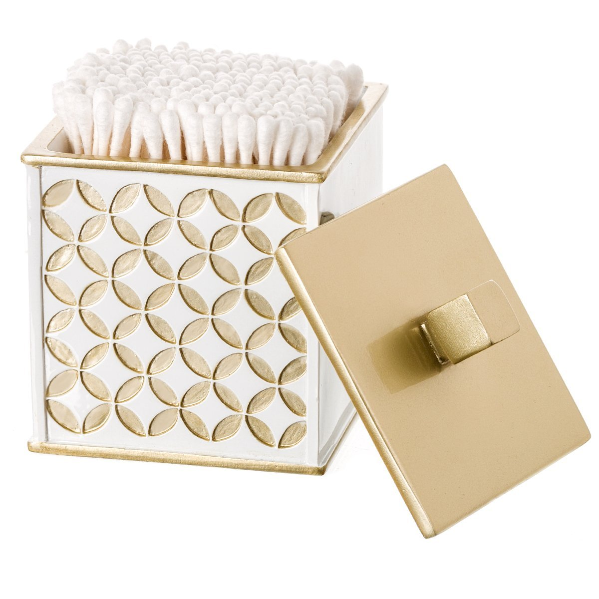 Creative Scents Diamond Lattice Q-Tip Holder, Cotton Ball Jar, Resin Cotton Swab Container, Decorative Bathroom Vanity Canister Jars with Lid for Q-Tips, Cotton Balls, Cosmetic Pads