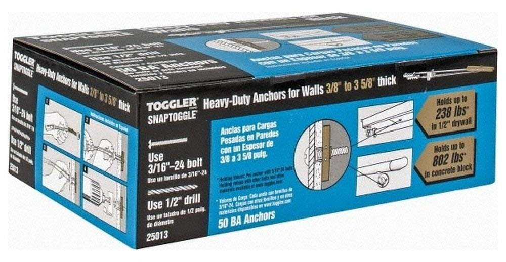 """3/16"""" Screw, 6-1/4"""" Long, 3/8 to 3-5/8"""" Thick, Toggle Bolt Drywall & Hollow Wall Anchor 3/16-24"""" Thread, 1/2"""" Drill, Zinc Plated, Steel, Grade 1010, Use in Drywall 50 Pack"""