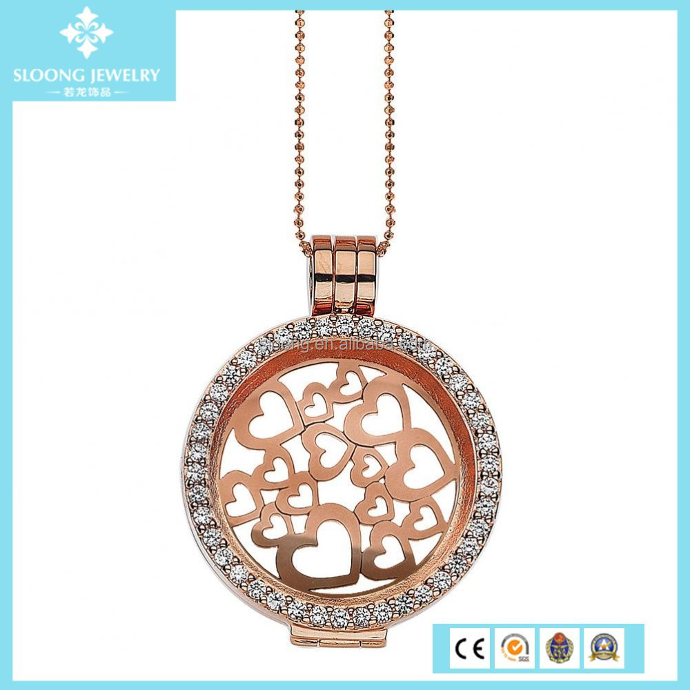 New Custom True Love Classic Hearts Rose Gold Locket Necklace