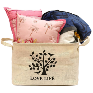 Eco-friendly and recyclable pure white foldable handle jute storage basket books toys storage