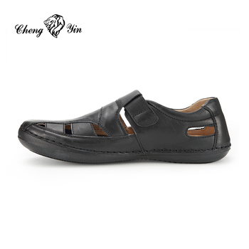 15350f97c China wholesale Alibaba leather upper Fabric Lining high quality cheaper  price men Sandals shoes made in china